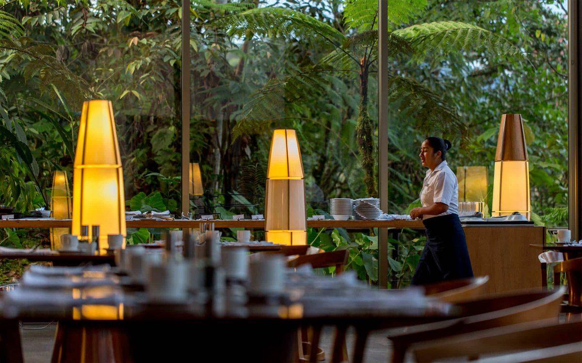 Restaurant and bar at Mashpi Lodge