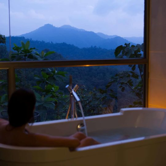 Bathroom view at sunset